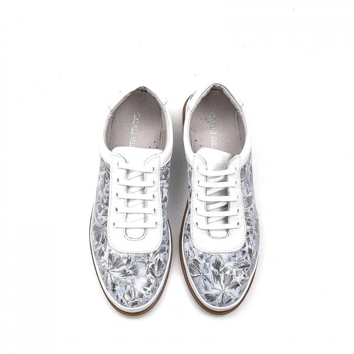 Pantofi dama casual din piele naturala, 171608NP, alb 5