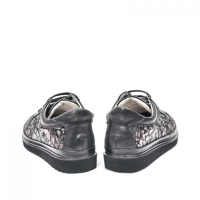Pantofi dama casual din piele naturala, 171608NP, negru 6