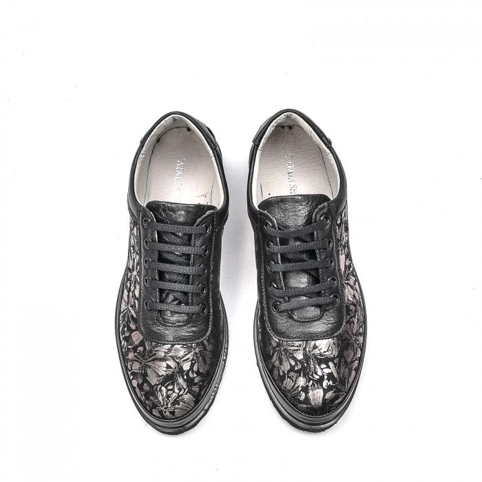 Pantofi dama casual din piele naturala, 171608NP, negru 5