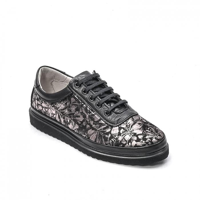 Pantofi dama casual din piele naturala, 171608NP, negru 0