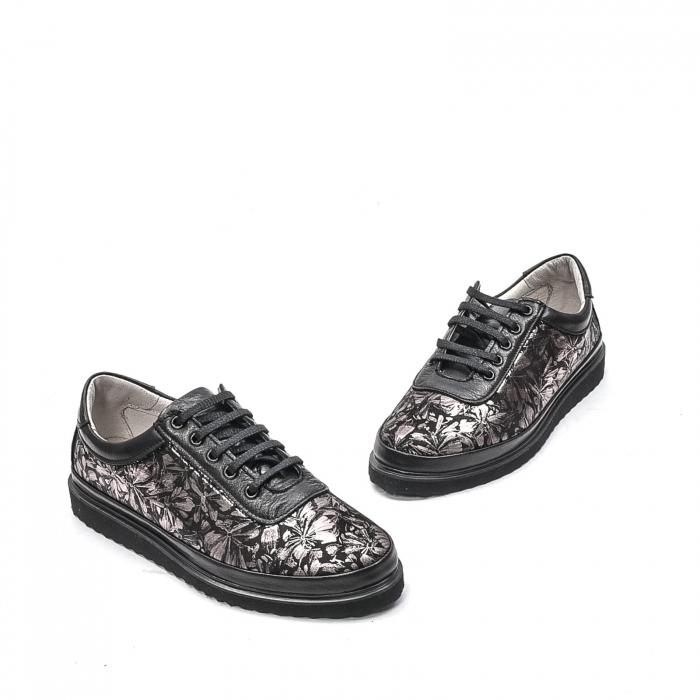 Pantofi dama casual din piele naturala, 171608NP, negru 1