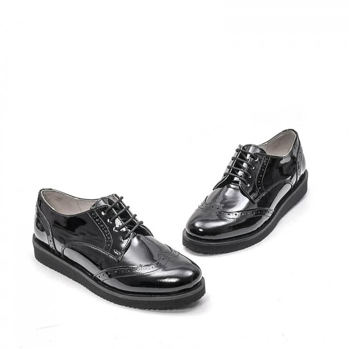 Pantofi dama casual din piele naturala,171611, negru lac 1