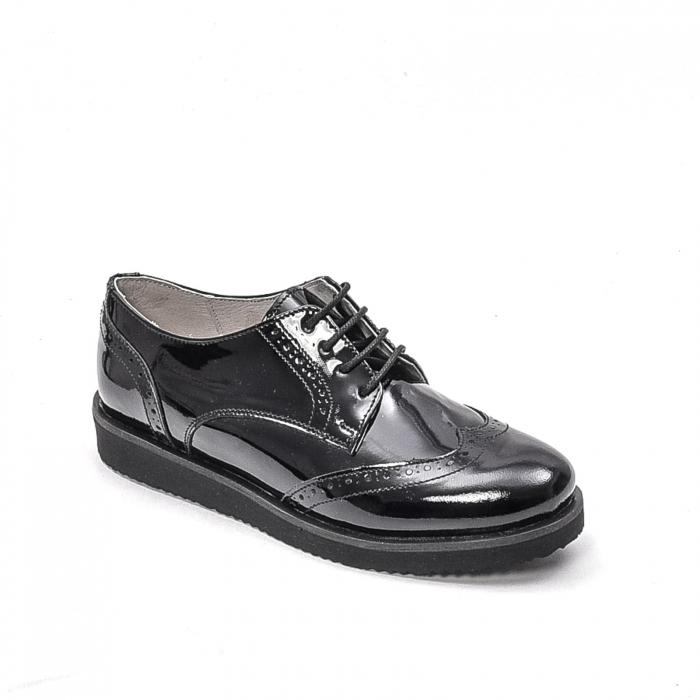 Pantofi dama casual din piele naturala,171611, negru lac 0