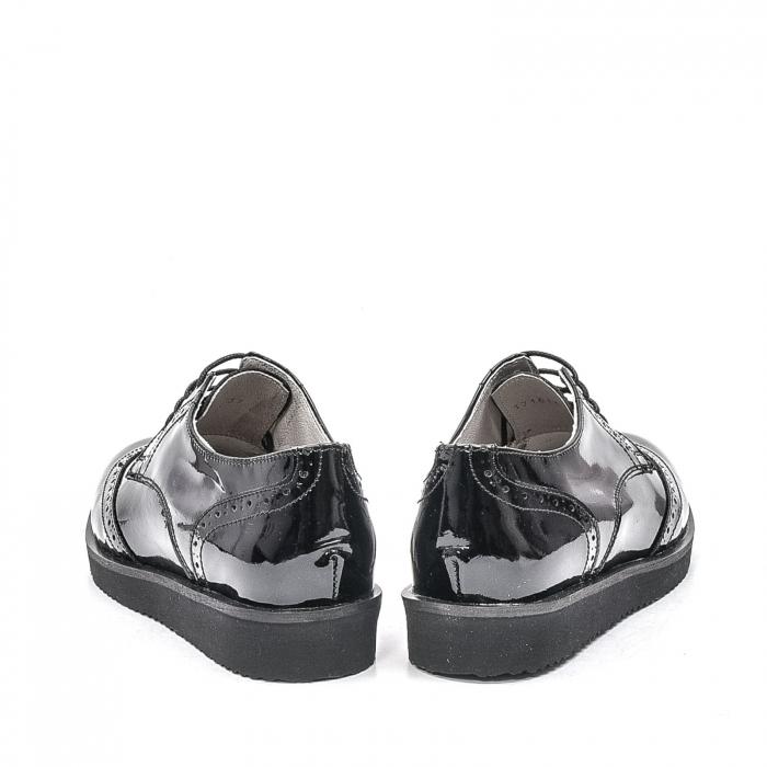 Pantofi dama casual din piele naturala,171611, negru lac 6