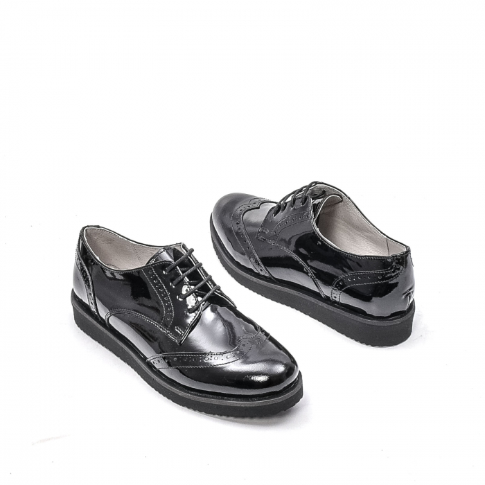 Pantofi dama casual din piele naturala,171611, negru lac 2