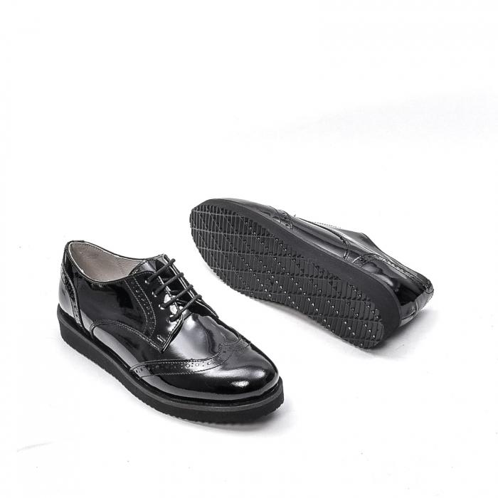 Pantofi dama casual din piele naturala,171611, negru lac 3