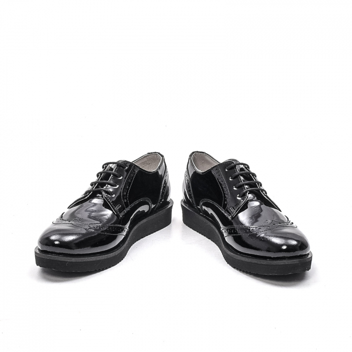 Pantofi dama casual din piele naturala,171611, negru lac 4