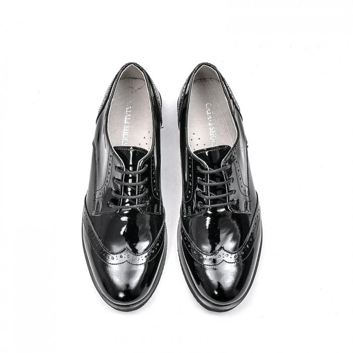 Pantofi dama casual din piele naturala,171611, negru lac 5