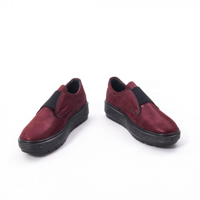 Pantofi casual dama piele naturala Catali 192658, bordo 2
