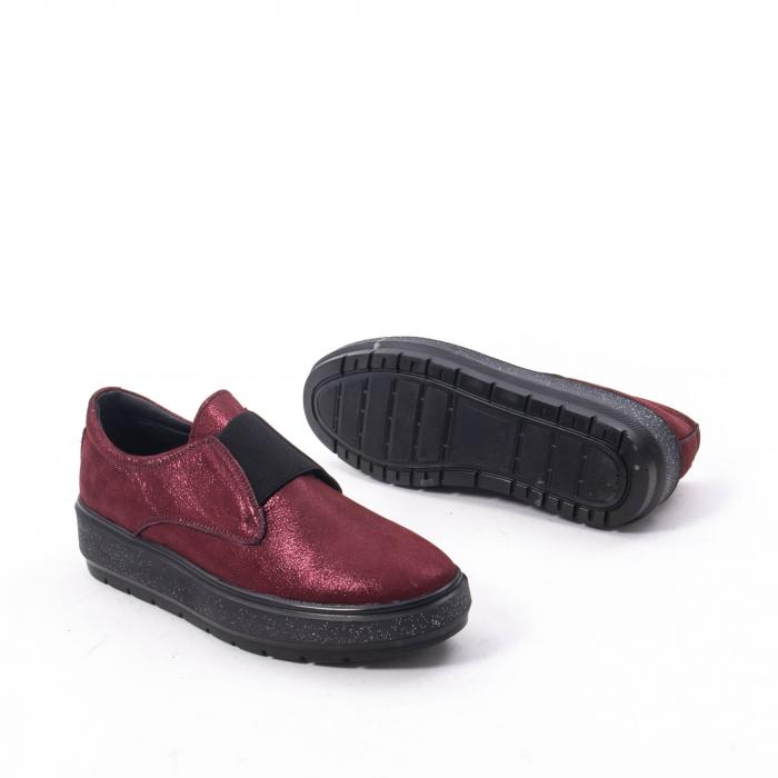 Pantofi casual dama piele naturala Catali 192658, bordo 5