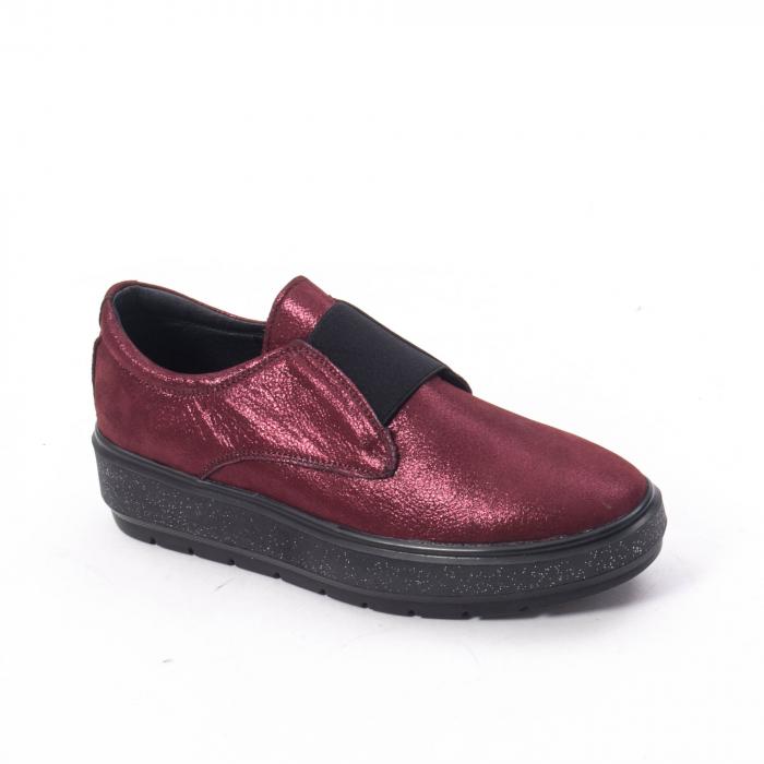 Pantofi casual dama piele naturala Catali 192658, bordo 0