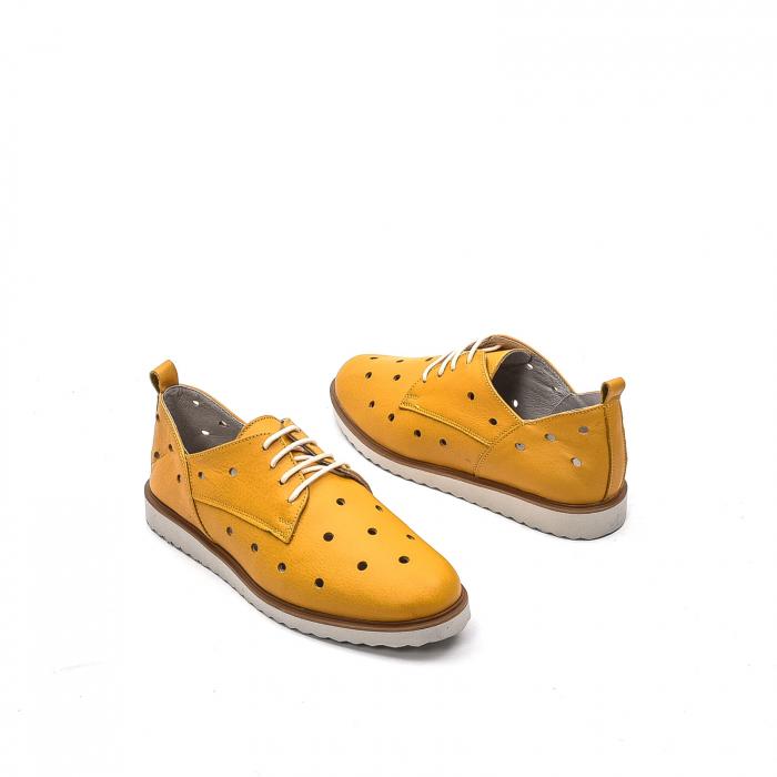 Pantofi dama casual din piele naturala, 201672NP, muștar 2