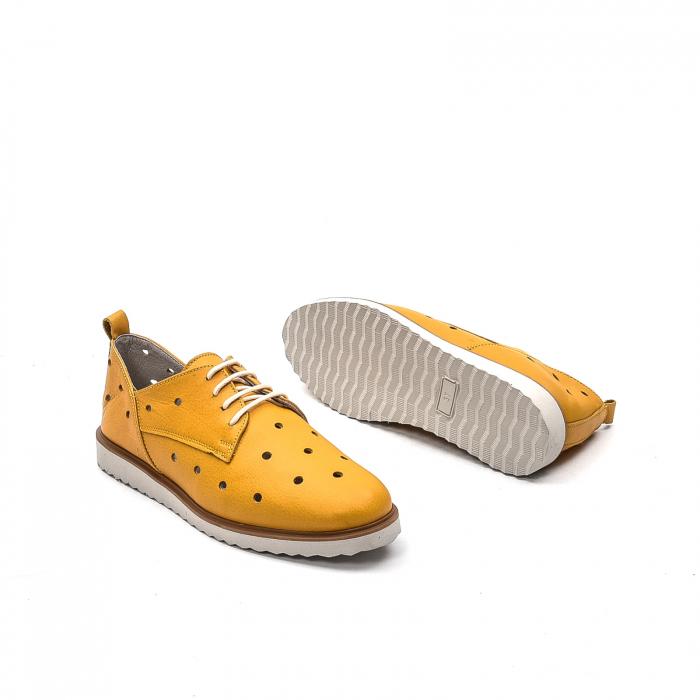 Pantofi dama casual din piele naturala, 201672NP, muștar 3