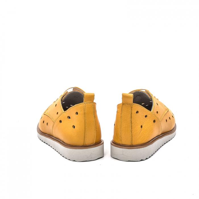 Pantofi dama casual din piele naturala, 201672NP, muștar 6