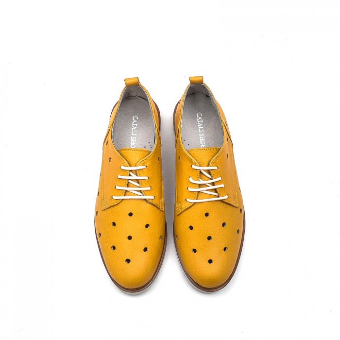Pantofi dama casual din piele naturala, 201672NP, muștar 5