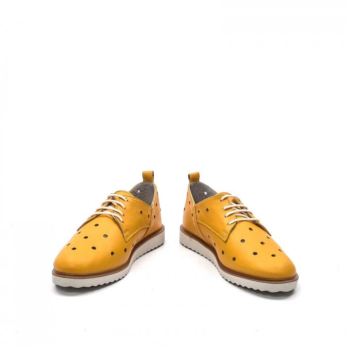 Pantofi dama casual din piele naturala, 201672NP, muștar 4