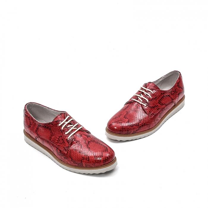 Pantofi dama casual din piele naturala, 201673CRO, rosu 1