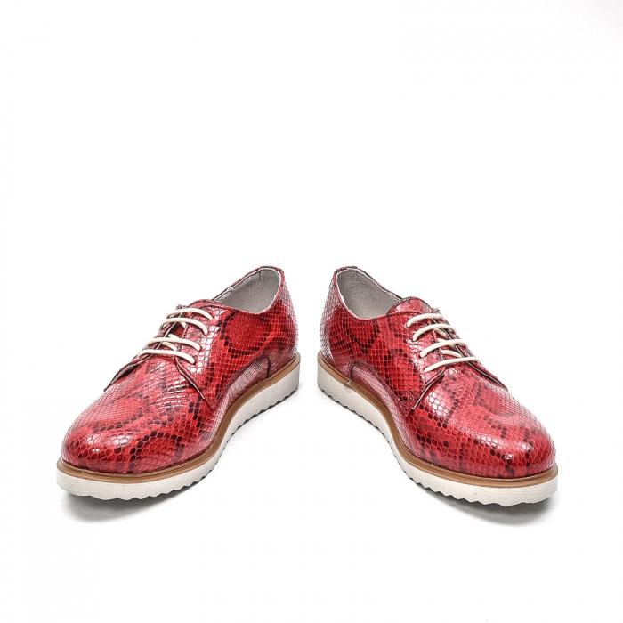 Pantofi dama casual din piele naturala, 201673CRO, rosu 4