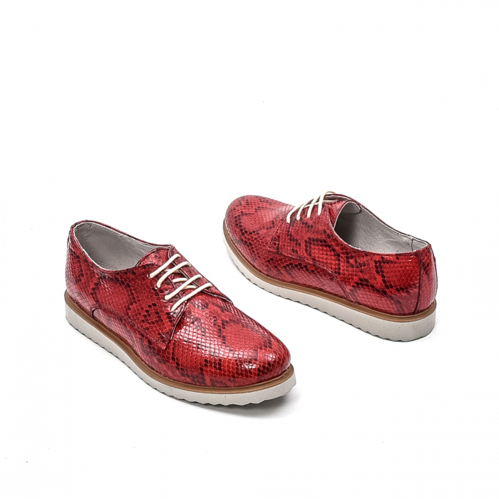 Pantofi dama casual din piele naturala, 201673CRO, rosu 2