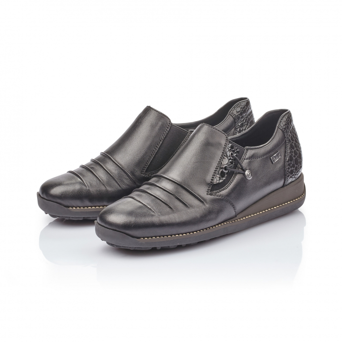 Pantofi casual dama piele naturala Rieker 44254, negru 4