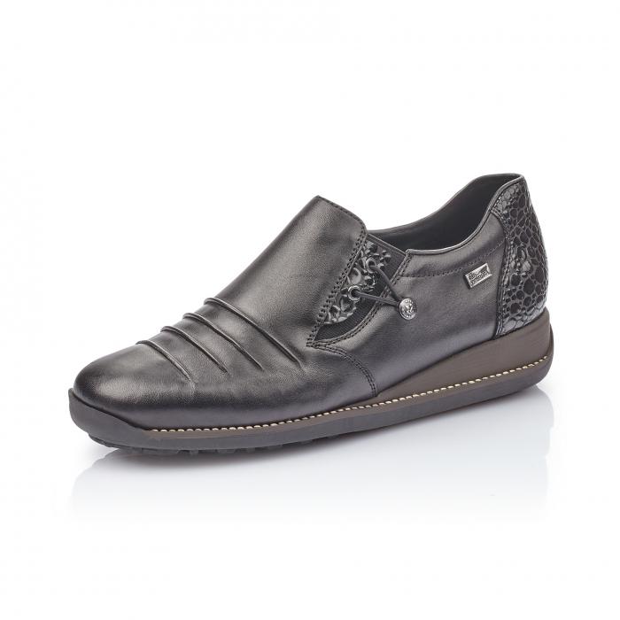 Pantofi casual dama piele naturala Rieker 44254, negru 0