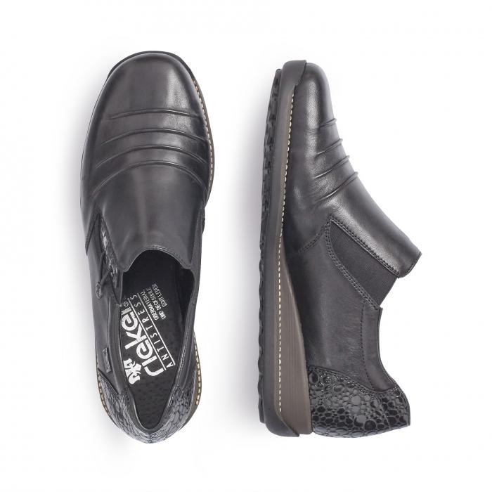 Pantofi casual dama piele naturala Rieker 44254, negru 1
