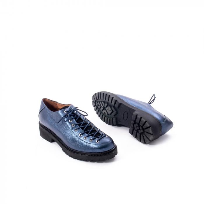 Pantofi casual dama, Leofex piele naturala 561 blue metalic 3