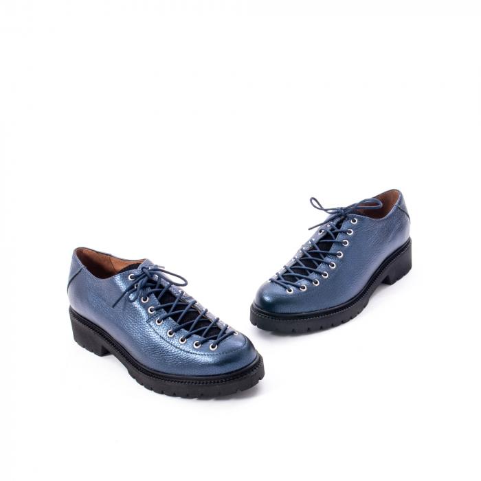 Pantofi casual dama, Leofex piele naturala 561 blue metalic 1