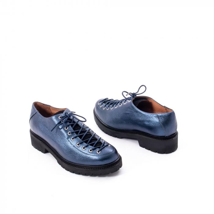 Pantofi casual dama, Leofex piele naturala 561 blue metalic 2