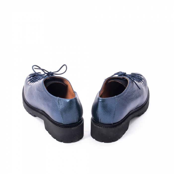 Pantofi casual dama, Leofex piele naturala 561 blue metalic 6