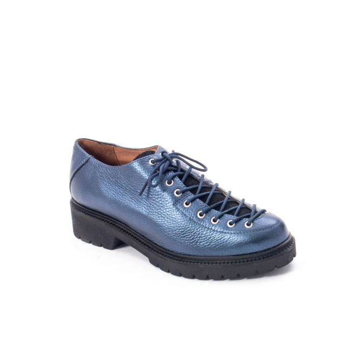 Pantofi casual dama, Leofex piele naturala 561 blue metalic 0