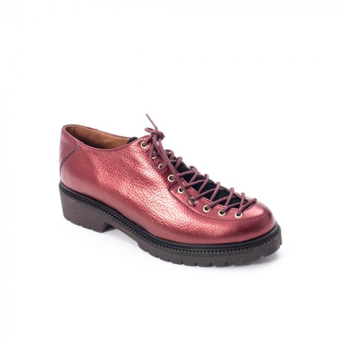 Pantofi casual dama, Leofex piele naturala 561 visiniu metalic 0