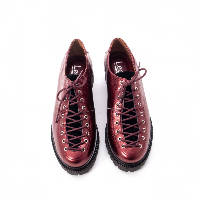 Pantofi casual dama, Leofex piele naturala 561 visiniu metalic 5