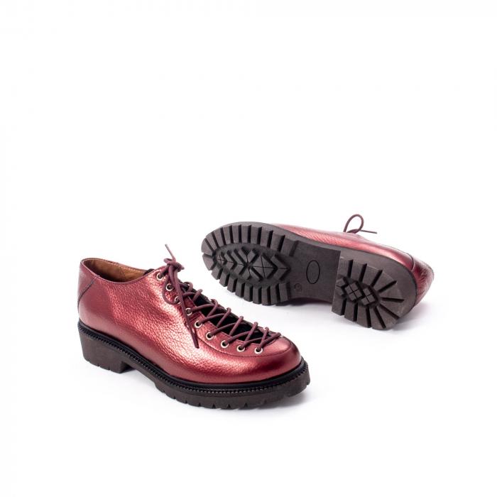 Pantofi casual dama, Leofex piele naturala 561 visiniu metalic 3