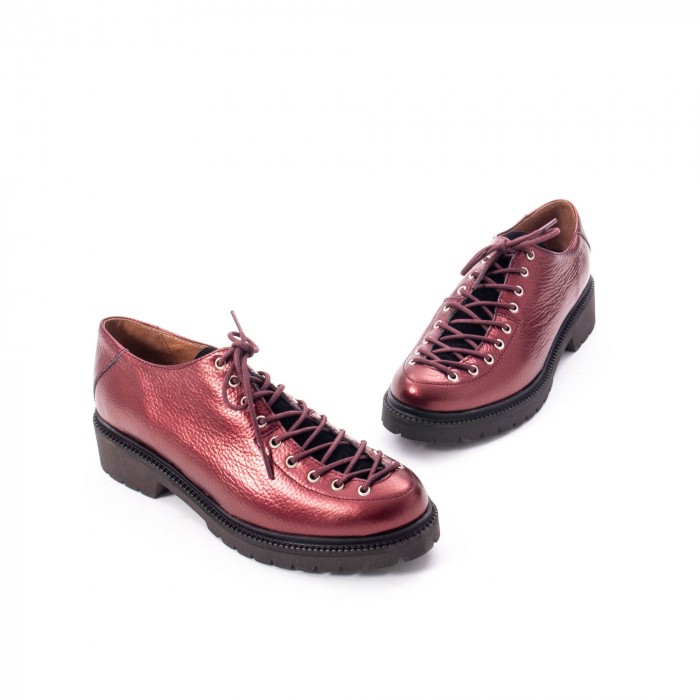 Pantofi casual dama, Leofex piele naturala 561 visiniu metalic 1