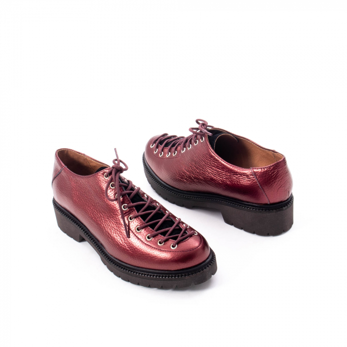 Pantofi casual dama, Leofex piele naturala 561 visiniu metalic 2