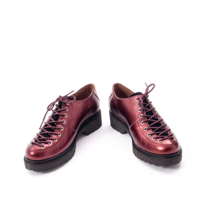 Pantofi casual dama, Leofex piele naturala 561 visiniu metalic 4