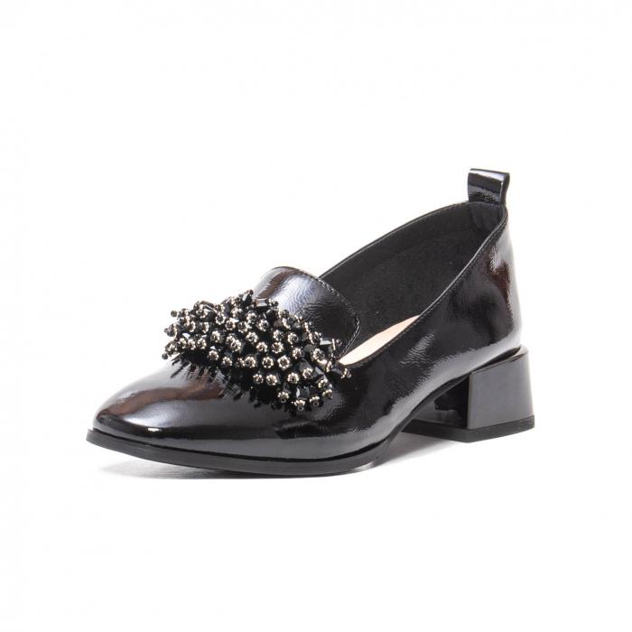 Pantofi casual dama, piele naturala lacuita, J7H551-3433, negru [0]