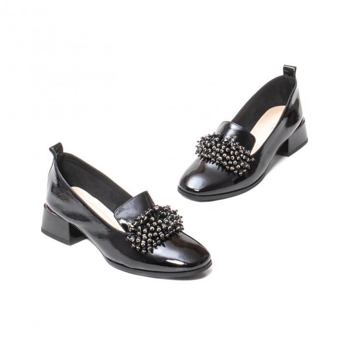 Pantofi casual dama, piele naturala lacuita, J7H551-3433, negru [1]