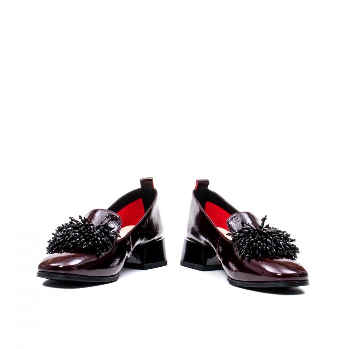 Pantofi casual dama, piele naturala lacuita, J7H551 B 4