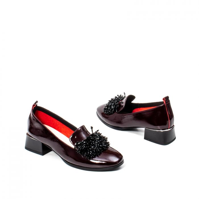 Pantofi casual dama, piele naturala lacuita, J7H551 B 2