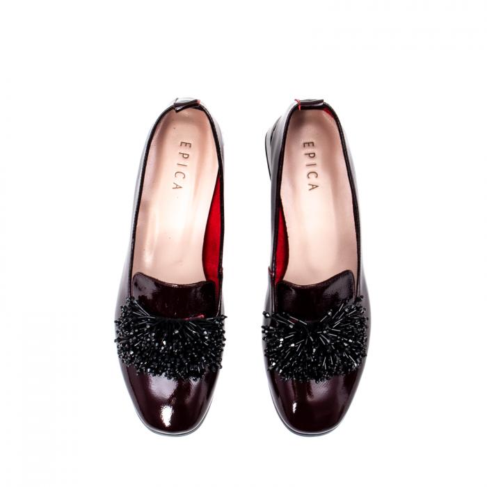 Pantofi casual dama, piele naturala lacuita, J7H551 B 5