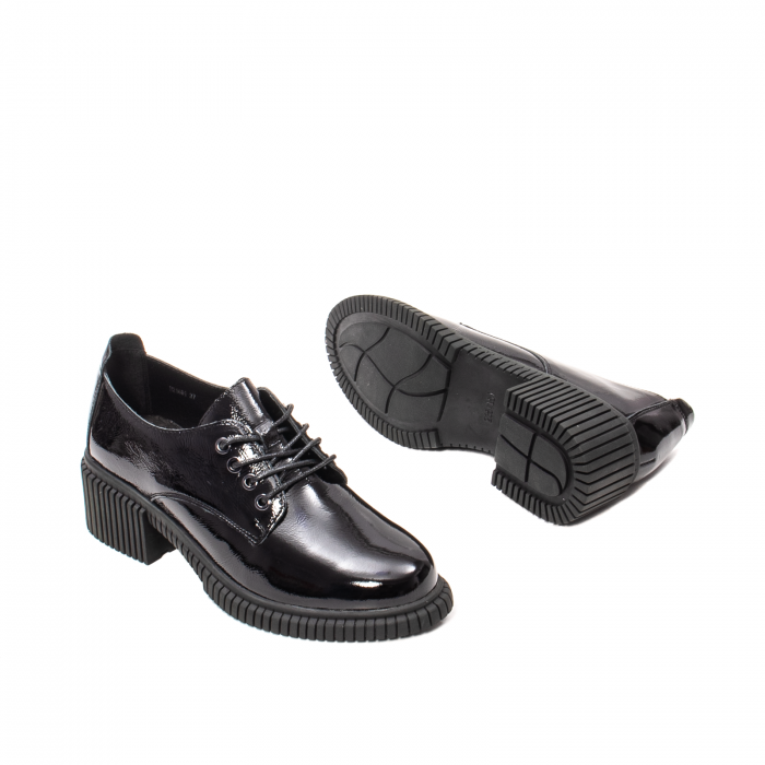 Pantofi dama casual, piele naturala lacuita, J8B21601 N 3