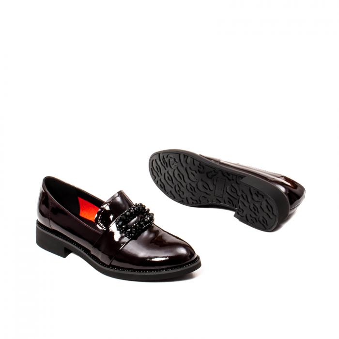 Pantofi casual dama, piele naturala lacuita, JIXS320 B 3