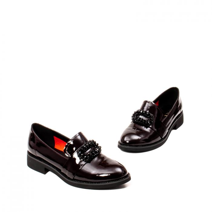 Pantofi casual dama, piele naturala lacuita, JIXS320 B 1