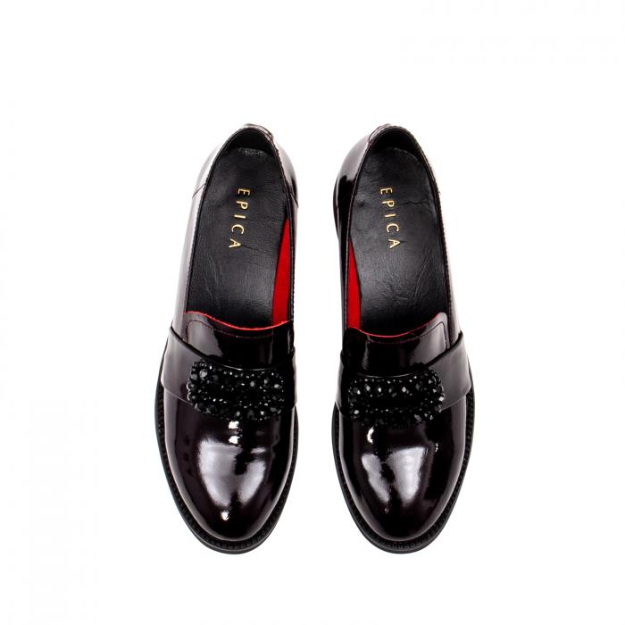 Pantofi casual dama, piele naturala lacuita, JIXS320 B 5
