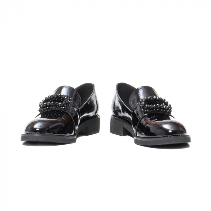 Pantofi casual dama, piele naturala lacuita, JIXS320 negru [4]