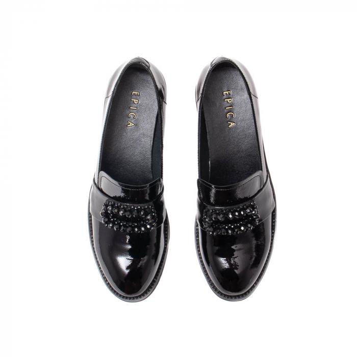 Pantofi casual dama, piele naturala lacuita, JIXS320 negru [5]