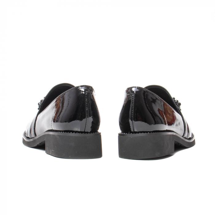 Pantofi casual dama, piele naturala lacuita, JIXS320 negru [6]
