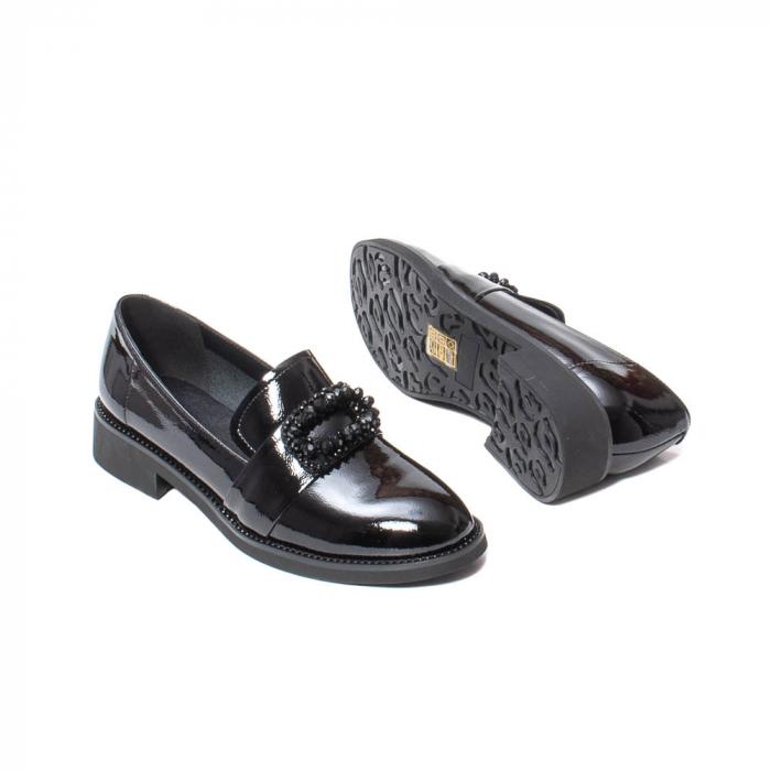 Pantofi casual dama, piele naturala lacuita, JIXS320 negru [3]